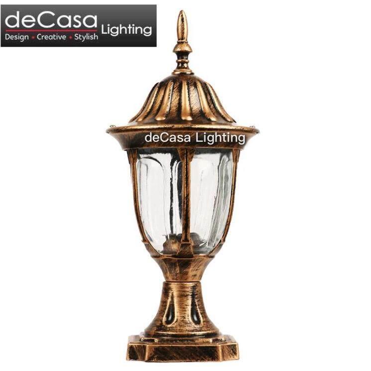 DECASA Antique Outdoor Pillar Light Weather Proof E27 Lamp Holder Outdoor Stand Light Garden Lamp Pole Light (CM-PT304-AB-S)