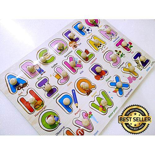 (New)26pcs ABC Kid Early educational toys baby hand grasp wooden puzzle toy alphabet and digit learning education child wood jigsaw toy