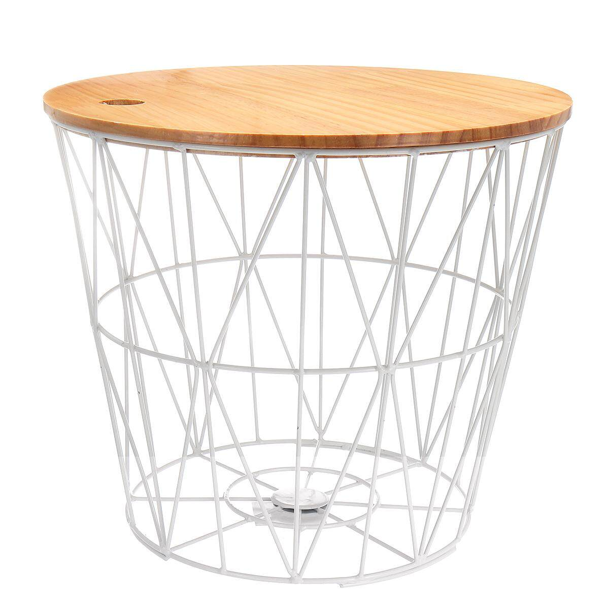 White metal wire basket wooden top side table storage loft living home furniture [White Large (with cover)]