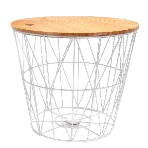 White metal wire basket wooden top side table storage loft living home furniture [White Trumpet (with cover)]