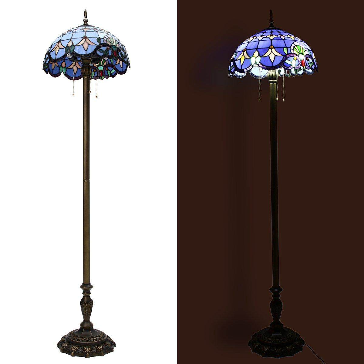 Floor Lamp Victorian Style Vintage Stained Glass Antique Led Light Home Decor By Moonbeam.