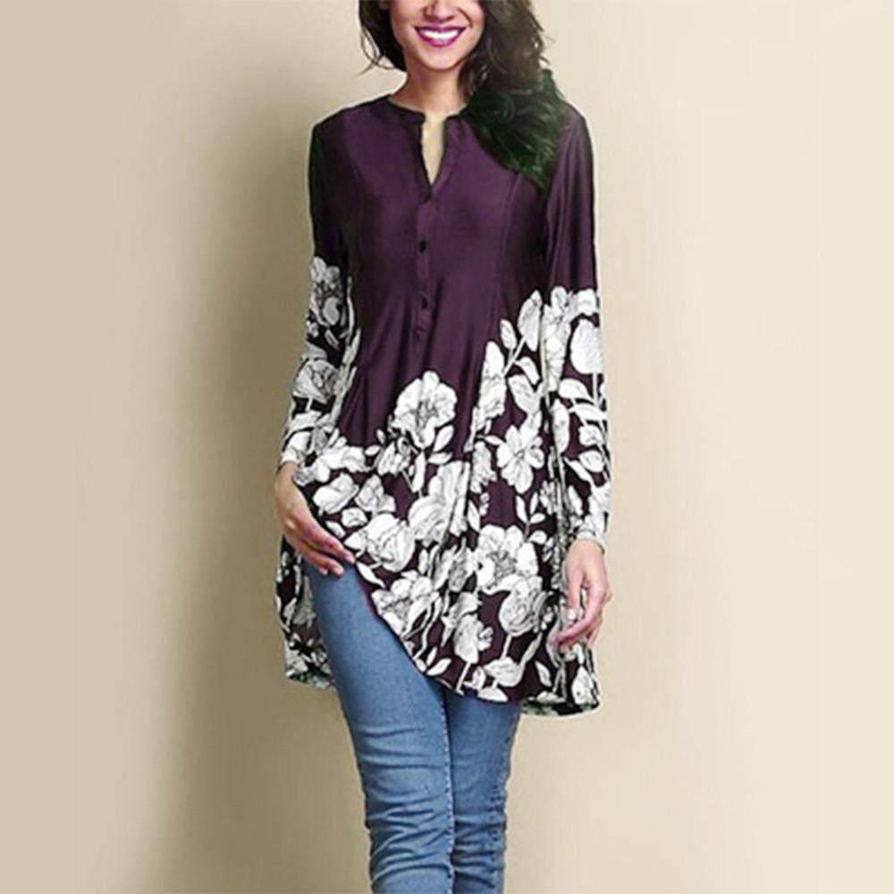 846744238a90aa Carolaneshop Blouses Tops Shirts for Girls Women Plus Size Floral Print  V-Neck Fashion Long