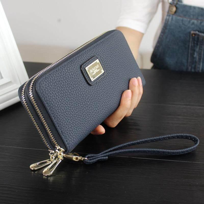 c45069bcf7 Women s Long Leather Card Holder Purse Doule Zipper Elegant Clutch Wallet