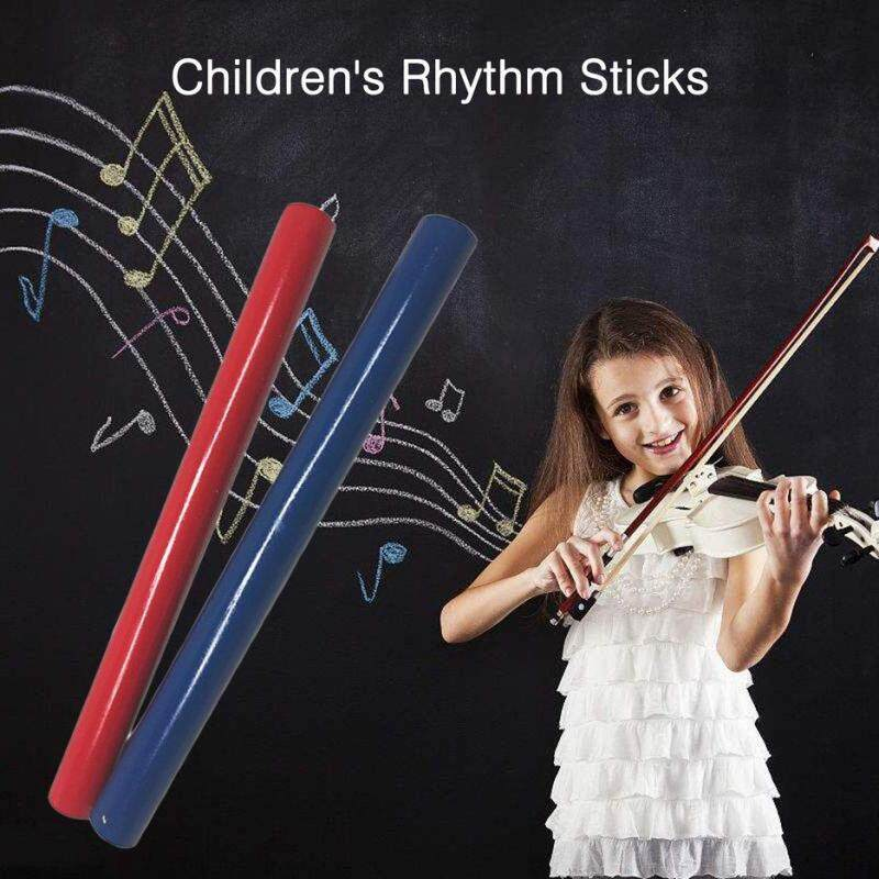 BELLE Orff World Wooden Percussion Instrument Red & Blue Rhythm Sticks Musical Gift Red & blue