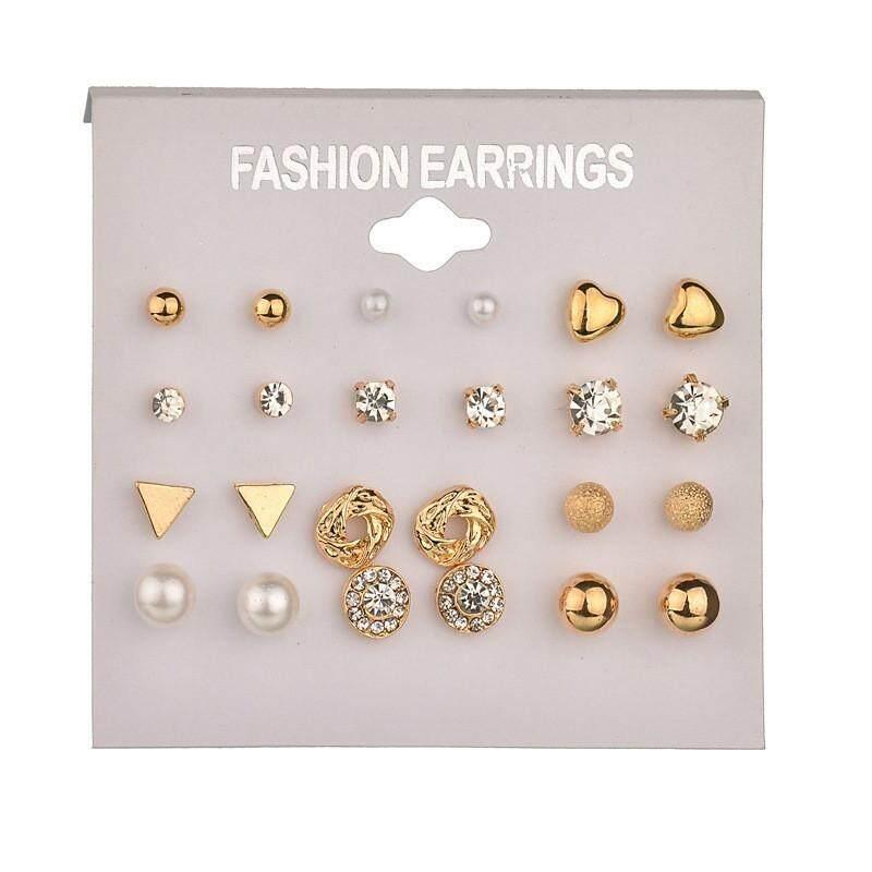 Detail Gambar Fashion Earrings Ear Ring Set Combination Of 12 Sets Of Heart-shaped Earrings