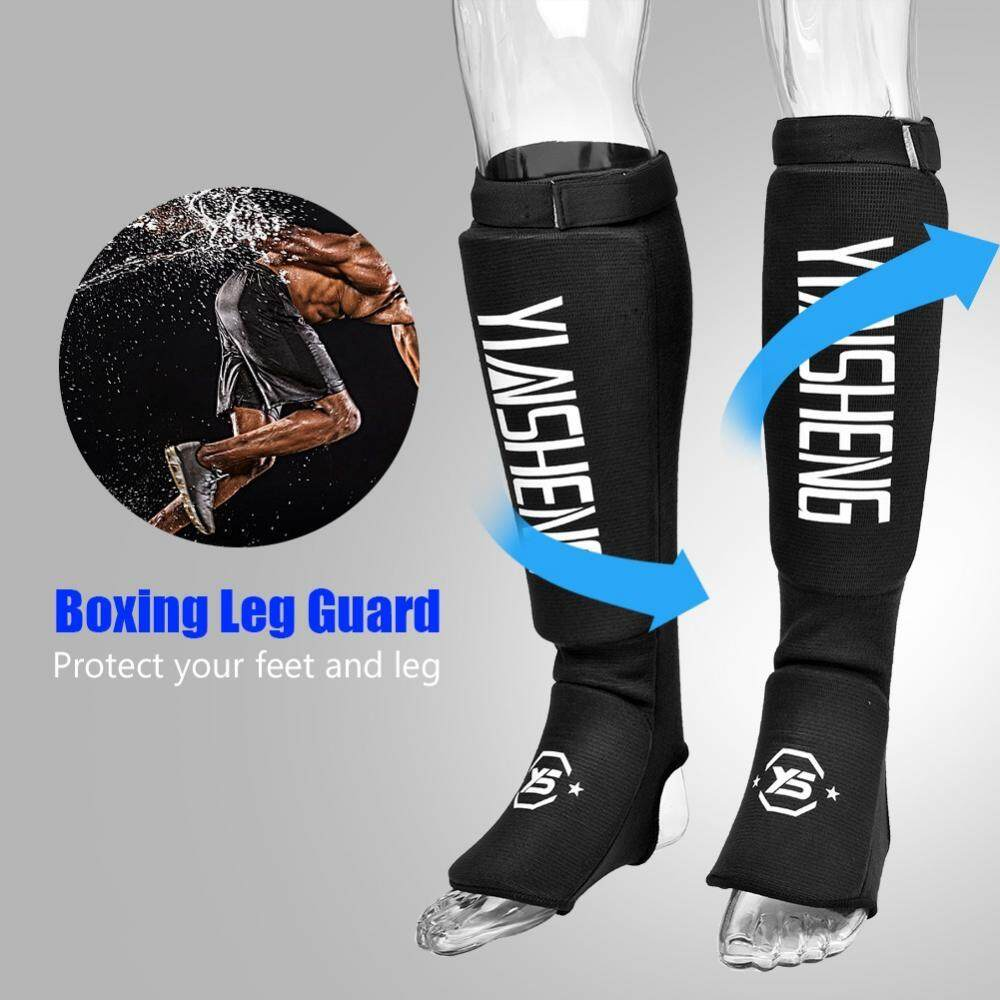 Hình ảnh 1 Pair Durable Breathable Leg Foot Guard Protector for MMA Boxing Karate Taekwondo(Black M) - intl