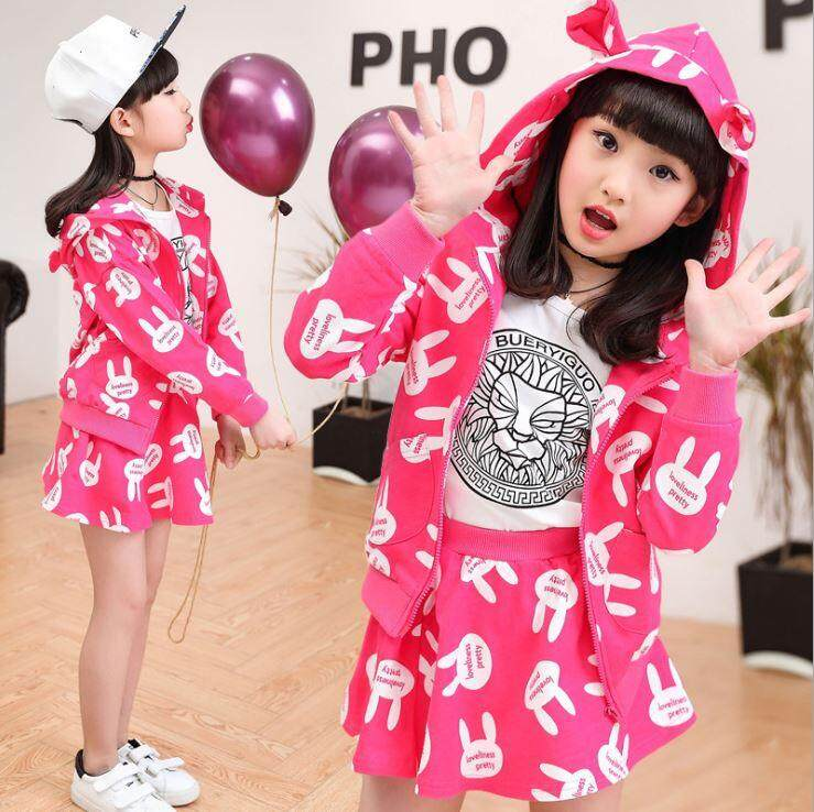 Korean Rabbit Kids Girl Jacket + Skirt Set (Pink)