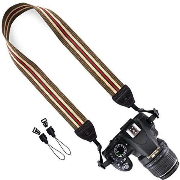 DSLR / SLR Camera Strap - Wolven Camera Neck Shoulder Belt Strap for Nikon Canon Samsung Pentax Sony Olympus Fujifilm Instax Polaroid Pringo - Brown Stripe