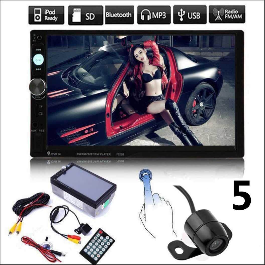 "7"" 2Din Car Bluetooth Stereo FM Radio MP5 AV Player With Rearview Camera 7010B"