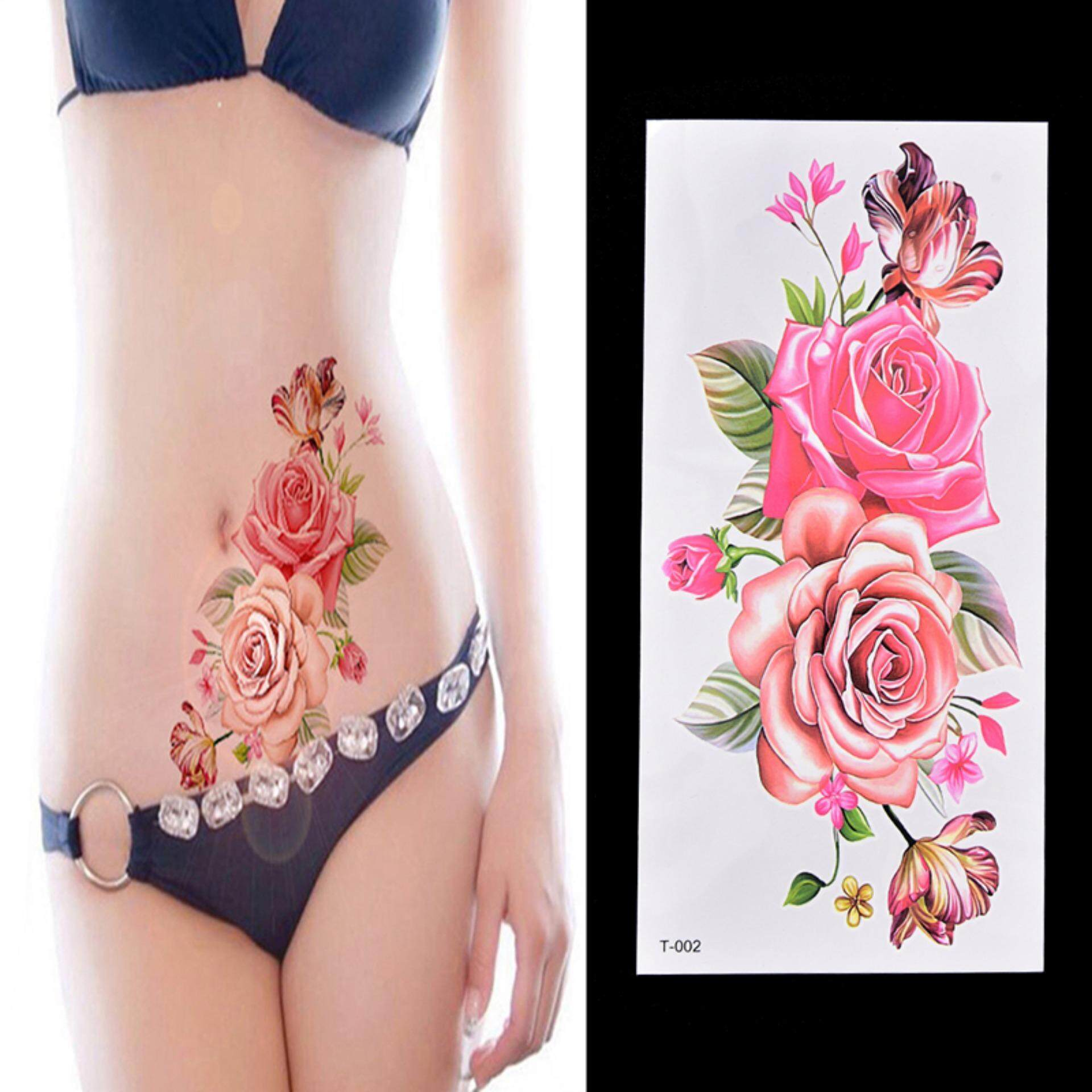 Hình ảnh Fake Temporary Tattoo Sticker Rose Flower Arm Body Waterproof Women Art