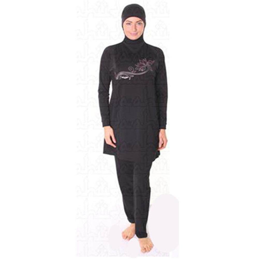 3d1bd0357ebd Swimming Suit Girl Muslim Solid Black Muslim Swimwear Plus Size Modest  Islamic Swimsuit Hijab for Women