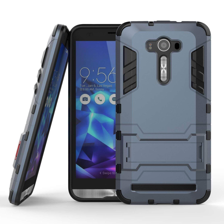 Case untuk Asus Zenfone 2 Laser ZE550KL (5.5 Inci), [Tough Pelindung] Kasar Berkualitas Tinggi Tugas Tinggi Dampak Anti Guncangan Tahan Pelindung Case Tali Stent Pelindung Ramping Keras Case (Gelap Biru)