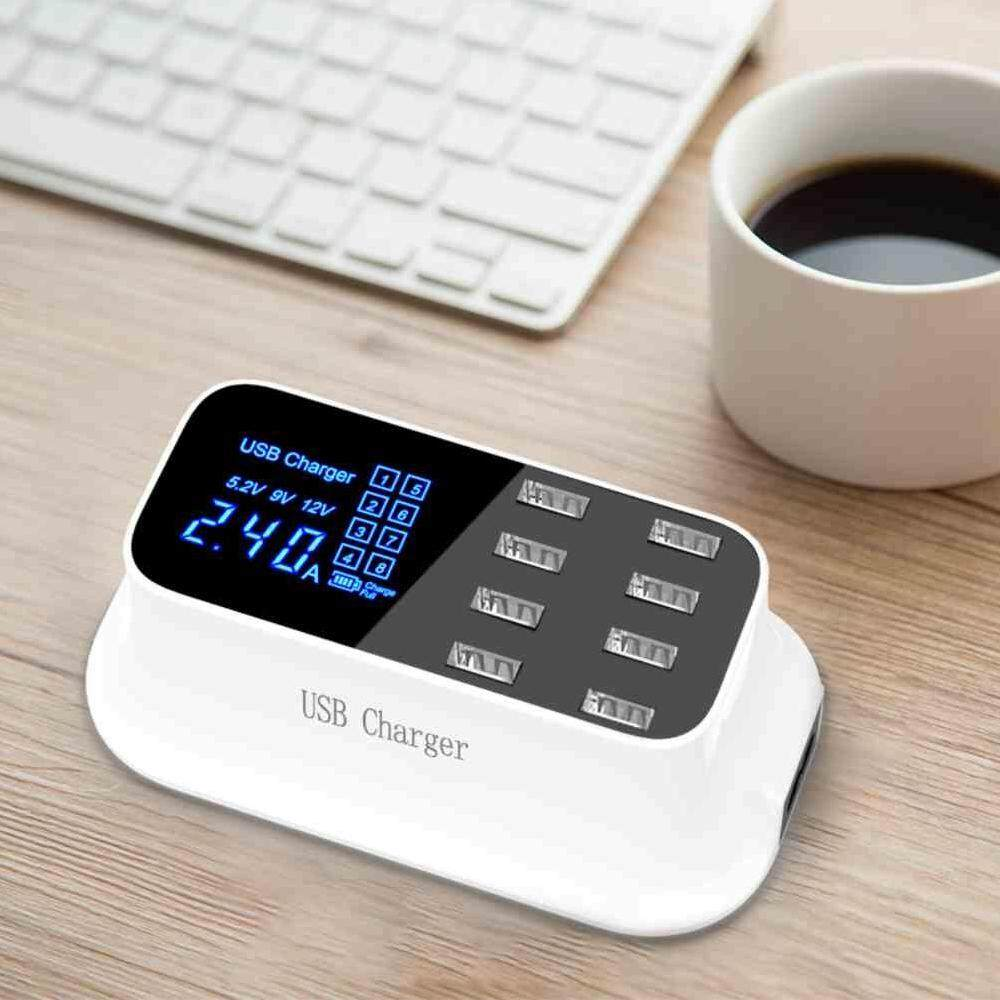 Vigo 5v/8a【uk Plug 】quick Charge 3.0 Smart Usb Charger Station Led Display Fast Charging Power Adapter Desktop Strip Mobile Phone Usb By Vigo.