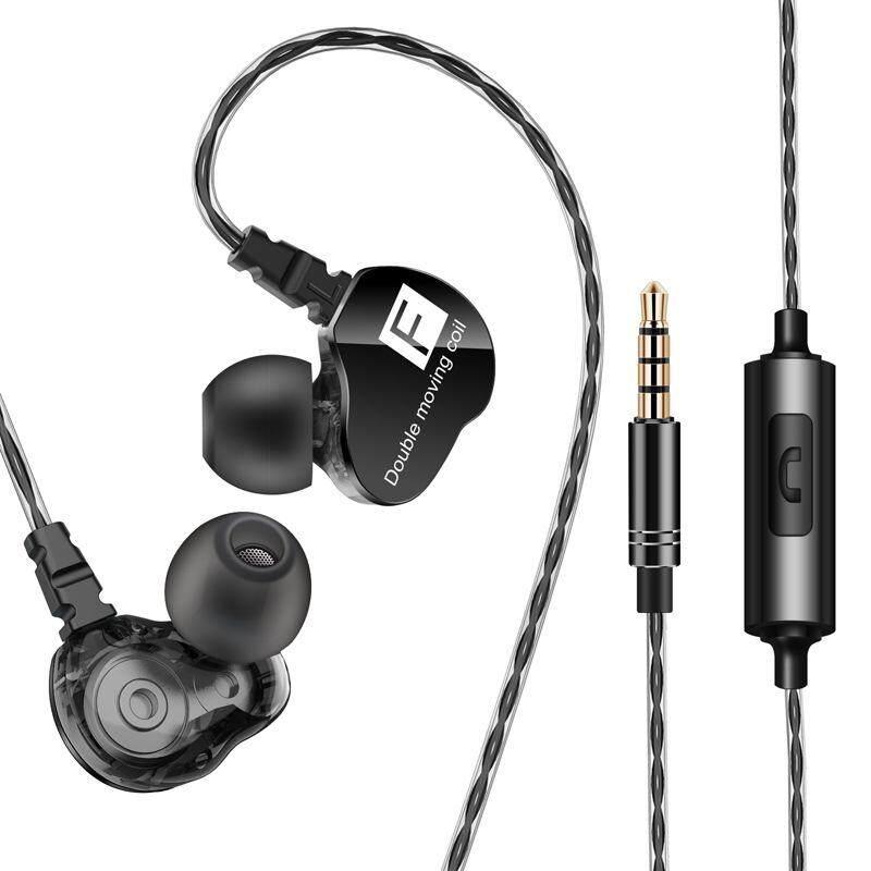 เดิมแท้ 3.5 มม. หน่วยคู่ไดรฟ์หูฟังแบบสอดในหู BASS ซับวูฟเฟอร์กีฬาหูฟังสำหรับ iPhone/Samsung/Xiaomi/OPPO/HUAWEI พร้อมไมโครโฟน