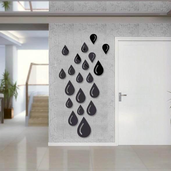 3D Water Drop Silver DIY Shape Mirror Wall Stickers Home Wall Bedroom Office Decor - intl