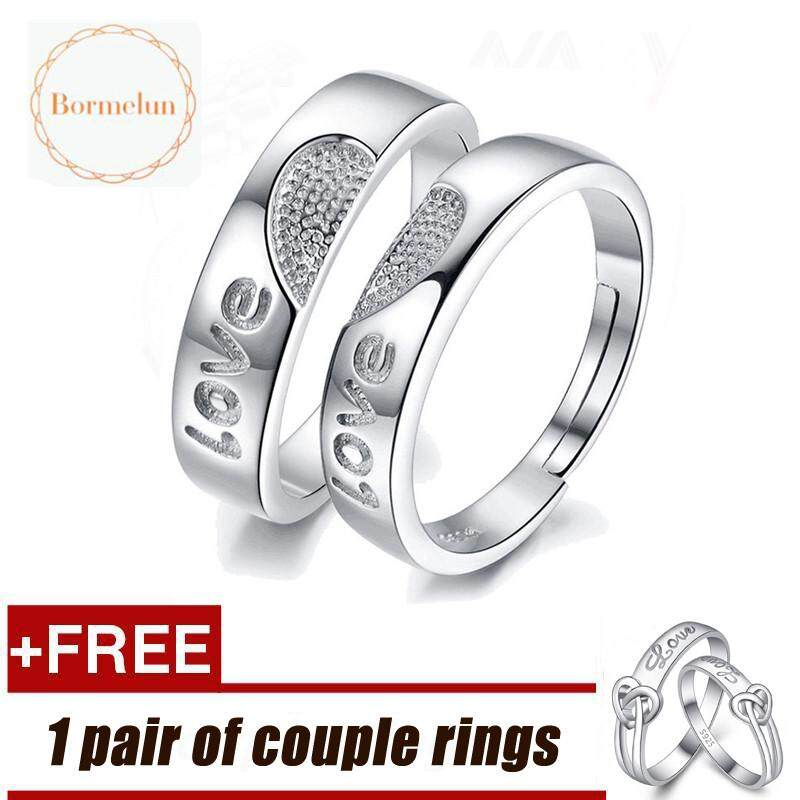 f97471bd03 [Buy 1 Get 1 Free] Bormelun Hot Sale 925 Silver Fashion Adjustable Couple  Rings