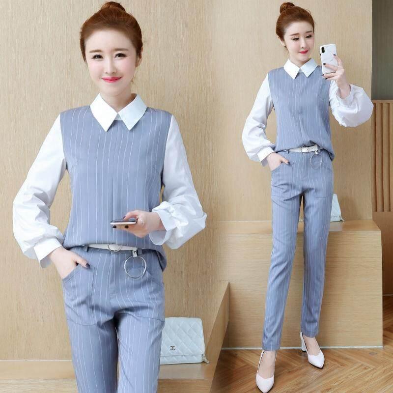 Pakaian Kantor Wanita Pakaian Slim Pakaian Kerja Kemeja Kerah Baju Atasan dan Celana Legging