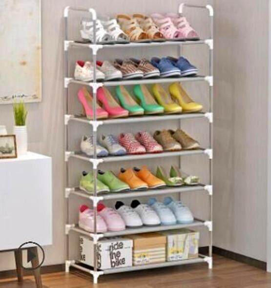 Simple 7-layer shoe rack, plastic rust-proof steel tube assembly dust-proof shoe cabinet