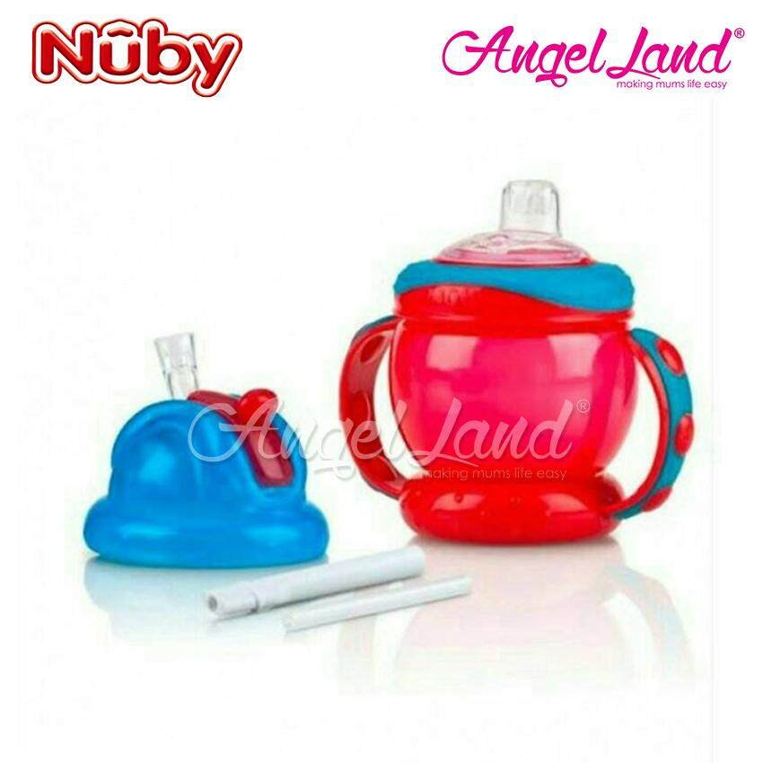 Nuby No-Spill Grip n´ Sip Combo 8oz/240ml Red -10020