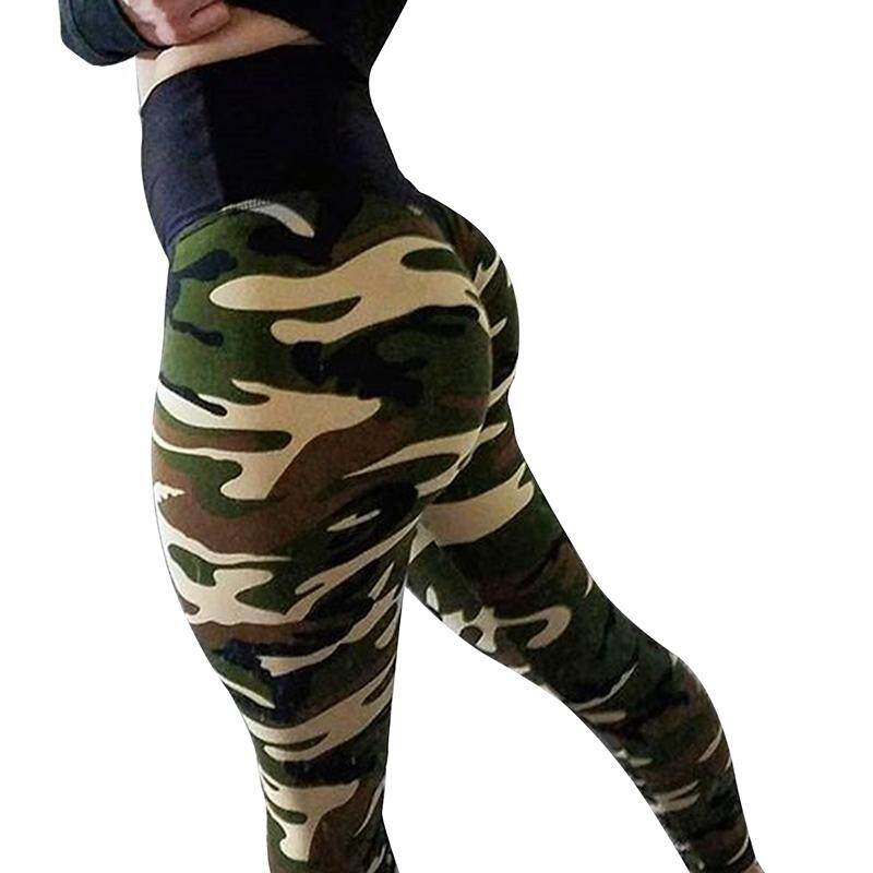 Women Sexy Camo Pants Slim Fit Yoga Running Pants Camouflage Leggings Trousers