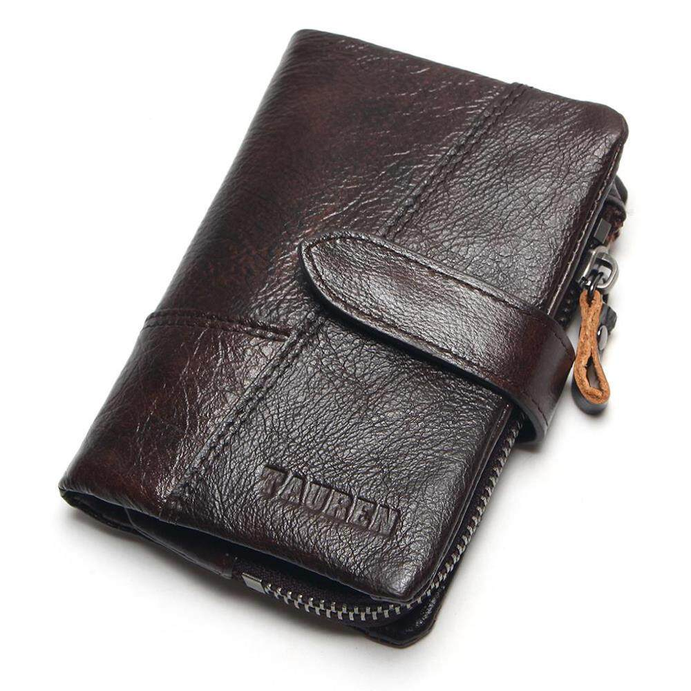 TAUREN OIL WAX Cowhide Genuine Leather Men Wallets Fashion Purse With Card Holder Vintage Long Wallet