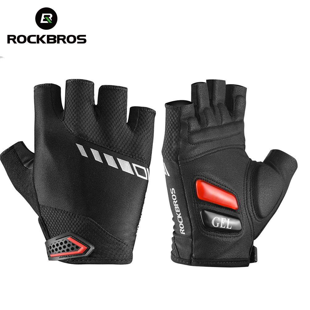 ROCKBROS Bicycle Half Finger Gloves Sport Gel Summer Shockproof Breathable Gloves Breathable Thickened Palm Padded Silicone