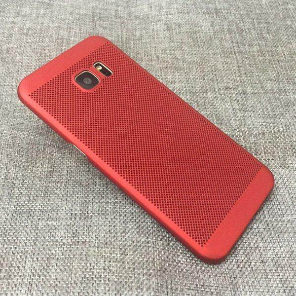Mesh Dissipating Heat Fingerprint Resistant Hard PC Shockproof Back Case For Samsung Galaxy S7 Edge Red