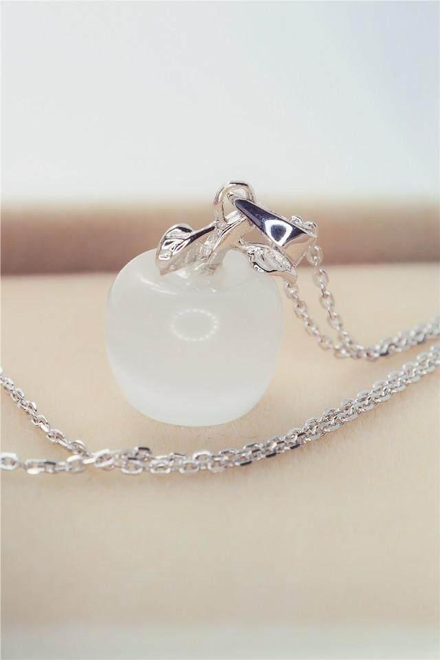 【Opal putih】Kecil dan sederhana apel kristal kalung opal liontin kalung perhiasan perak rantai