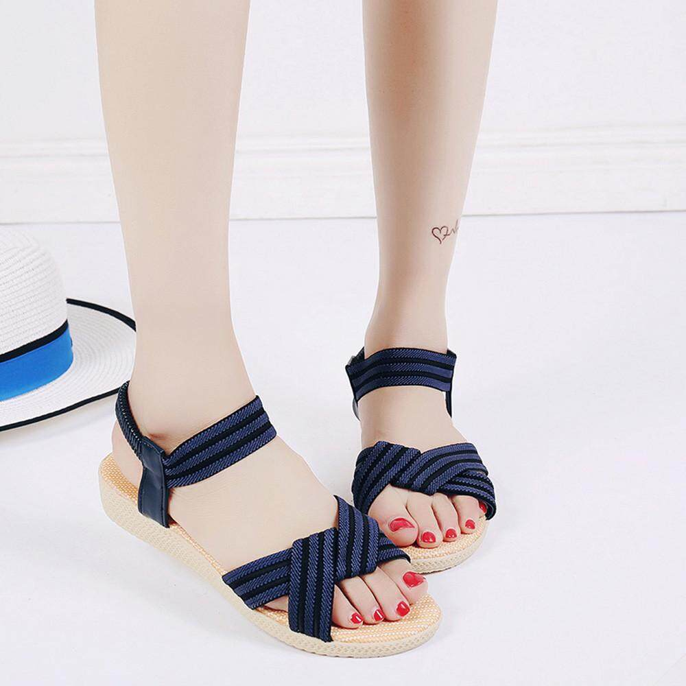 5beaab9438a43f chinastorenie Women Flat Shoes Striped Bohemia Leisure Lady Sandals  Peep-Toe Outdoor Shoes - intl