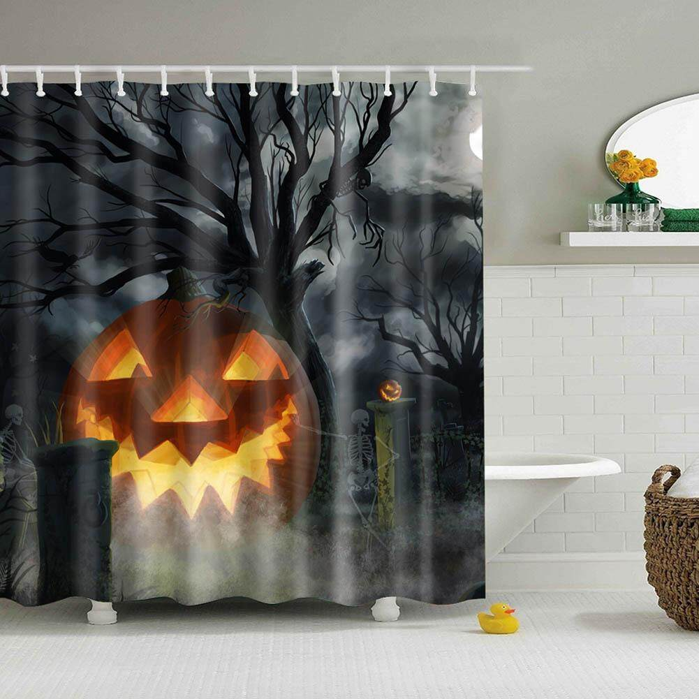 Shower Curtain Ghost Bathroom Waterproof Digital Printing Skeleton Halloween