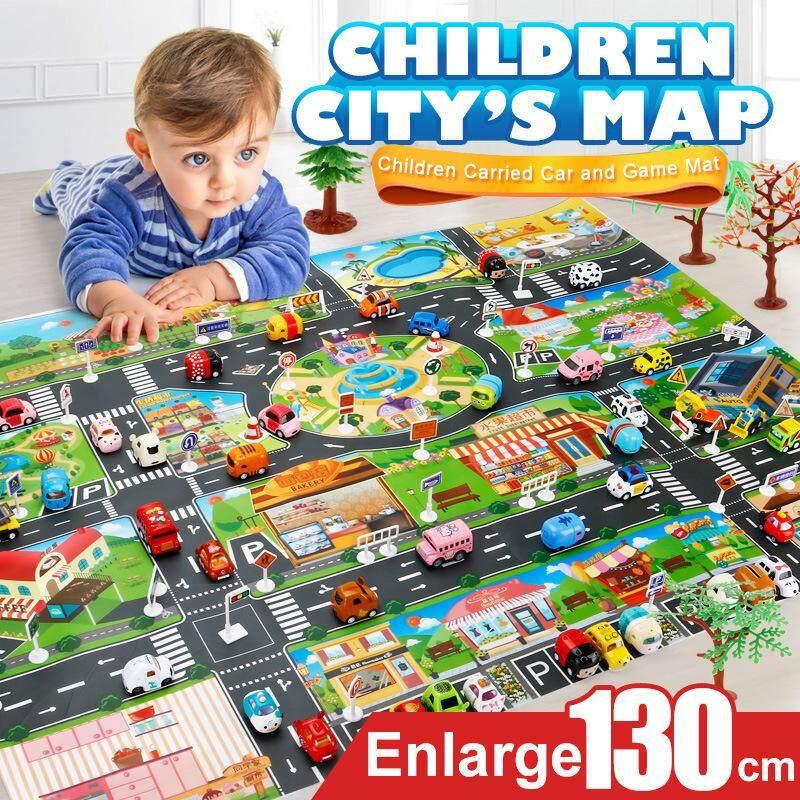Kvvdi 39 ชิ้นแผนที่เมืองรถของเล่นรุ่น Crawling Mat จอยเกมส์สำหรับเด็กอินเตอร์แอกทีฟ House ของเล่น (28 ชิ้นเครื่องหมายจราจร + 10 ชิ้น + 1 ชิ้นแผนที่) By Jucheng Store.