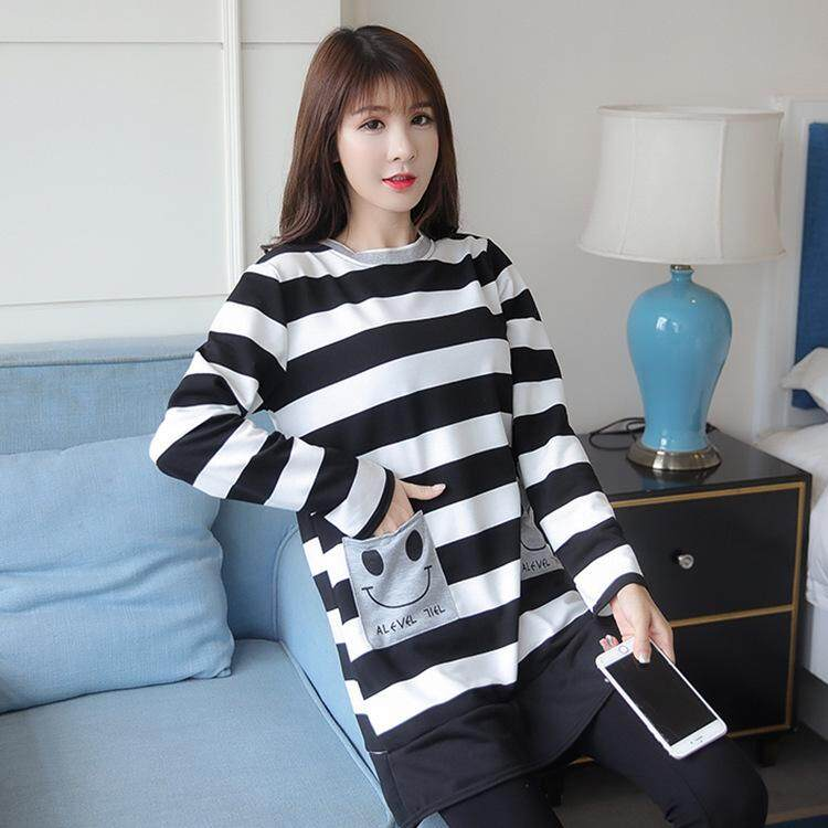 b2b4d524b1140 Maternity Dress Winter Women's Plus Size Long Sleeves Pregnant Women's  Smiling Face Dress Pocket Striped T