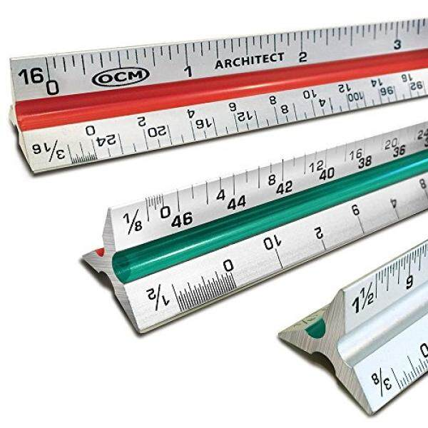 "OCM 12"" Triangular Architect Scale Ruler (PROFESSIONAL GRADE SOLID ALUMINUM) Color Coded Architectural Scale (Imperial Measurements) - Ideal For Architects, Engineers, Draftsman and Students - intl"