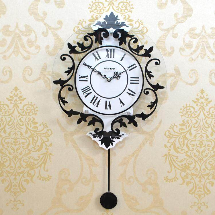 Creative Swing Wall Clock Charts Silent Living Room Clock Quartz Clock Modern Decoration European Rome Silent Wall Bell Fashion Creative Watch Living Room Bedroom Wall Clock