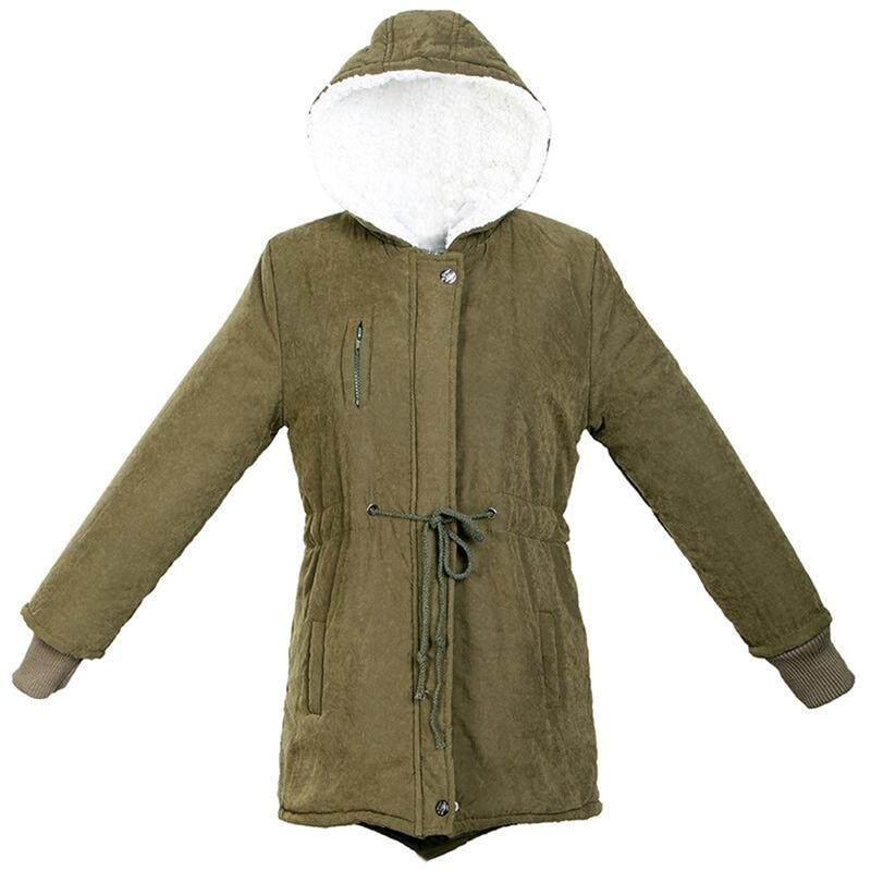 New Women Zip Hooded Parka Thick Fleece Warm Winter Coat Overcoat Long  Jacket - Army Green 530834d14b