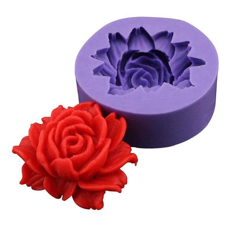 Idealhere 3D Rose Bunga Fondant Silikon Cetakan Dekorasi Kue Alat Cetakan Coklat DIY