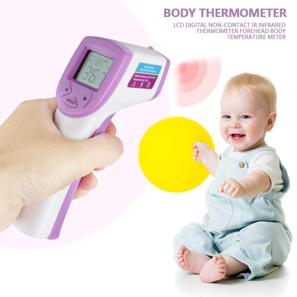 【ELE】LCD Digital Non-contact IR Infrared Thermometer Forehead Body Temperature Meter(Purple)