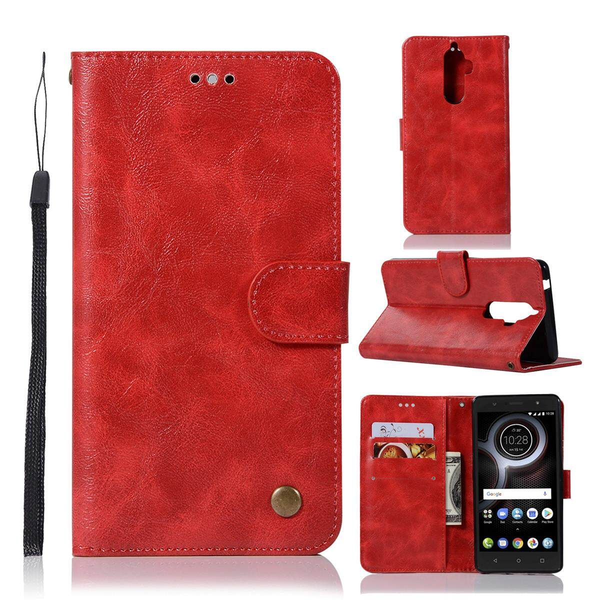 Case for Lenovo K8 Note Vintage Case PU Leather Magnetic Flip Stand Wallet Cover with Card Slots and Hand Strap - intl