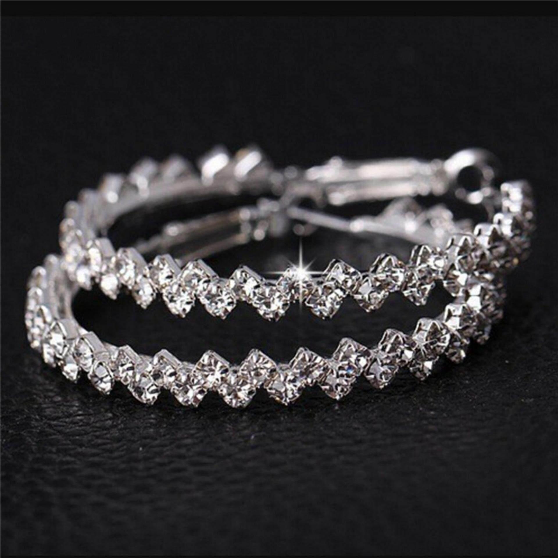 ... Kristal Anting Hoop Geometris Bulat Besar Paku Permata Buatan Anting-Anting Perhiasan Wanita - 4