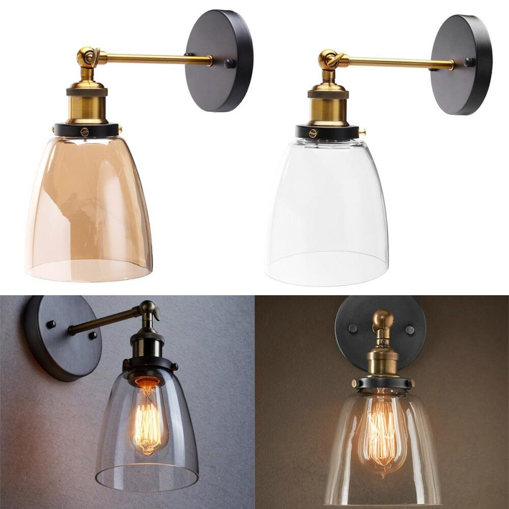 Clear Modern Vintage Industrial Glass Lamp Shade Filament Wall Light Sconce
