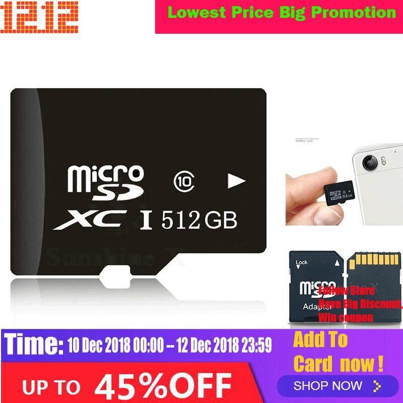 Pengiriman Gratis-! Panas! 512 GB Micro Kartu SD TF Flash Memory MicroSD CLASS 10 Free Adapter dan Pembaca Kartu