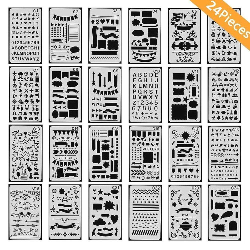 boobc 24 Packs Bullet Journal Stencils Plastic Planner Stencils Journal/Notebook/Diary/Scrapbook DIY Drawing Template 4x7 Inch - intl