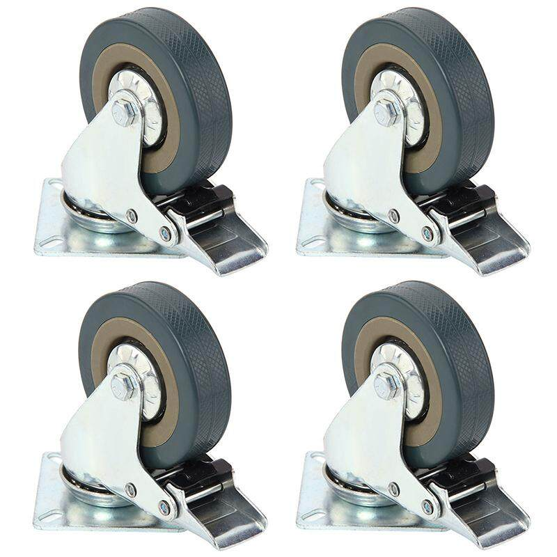Set of Heavy Duty 50x17mm Rubber Swivel Castor Wheels Trolley Caster Brake 30KGModel:4 with brake