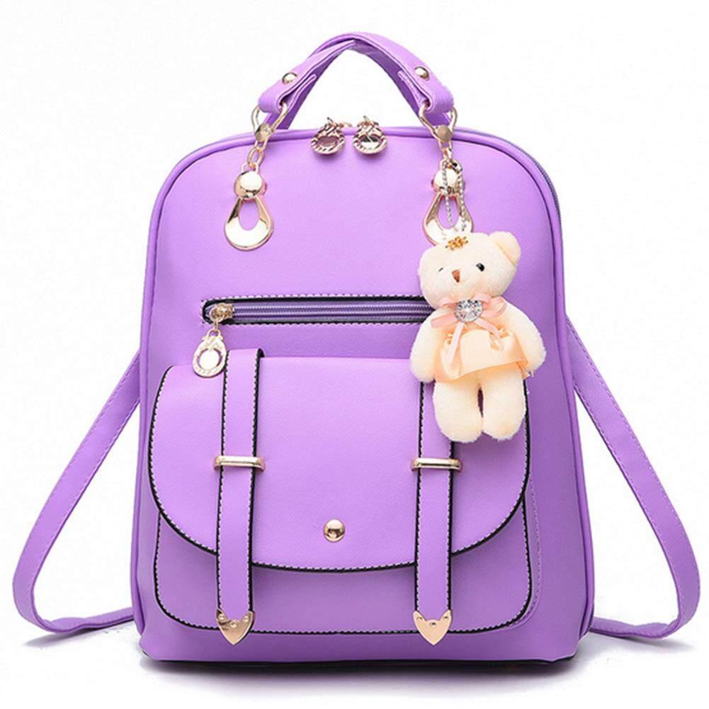 Womens Satchel Travel School Backpack Girls Rucksack Shoulder Bag With Pendant