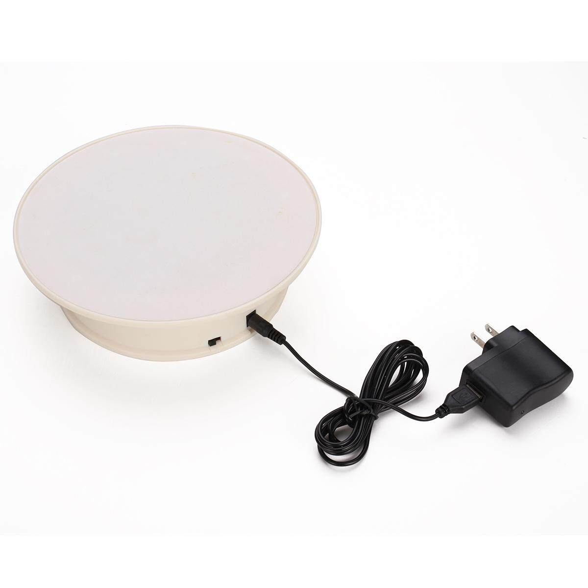 8 White 360° Rotating Anti-slip Turntable Display Stand Power by AC & Battery