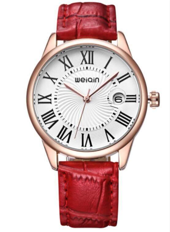 Pasangan Weiqin 3931 Kaca Pembesar Tanggal Jam Tangan Fashion Wanita Mawar Emas Tali Kulit Badan Jam Watch Wanita Roma Indeks Reloje Mujer Relogios-Intl