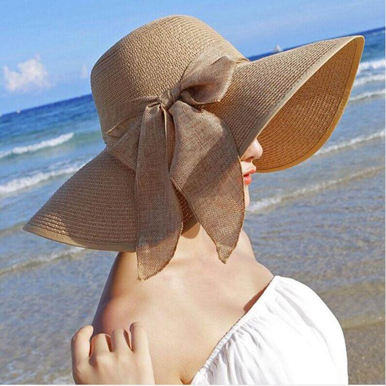 889019f4ea5 new straw hats for women s summer spring wide brim beach sun hats large bow  floppy sunhat