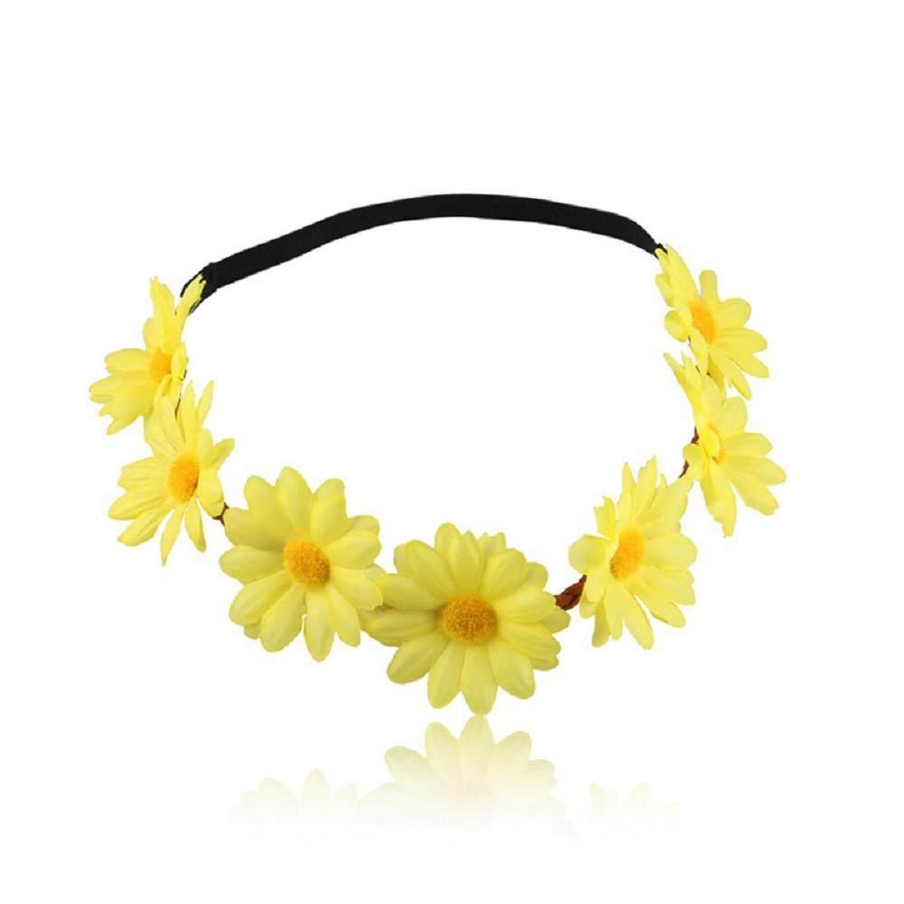 Kaya Ikat Rambut untuk Wanita Aksesoris Rambut BoHo Daisy Baru Wreath Festival Kurus