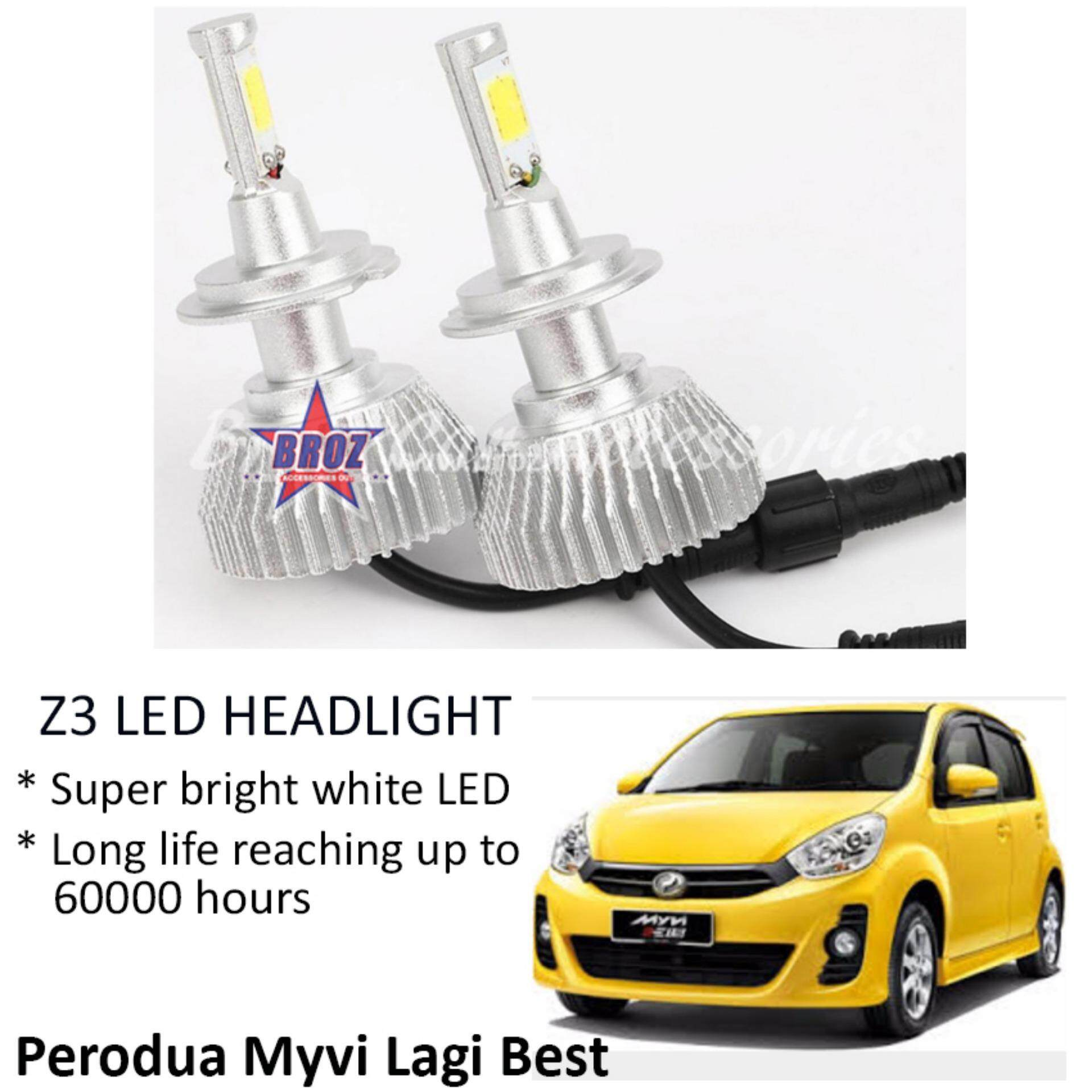 Perodua Myvi Lagi Best (Head Lamp) Z3 LED Light Car Headlight Auto Head light Lamp 6000k White Light
