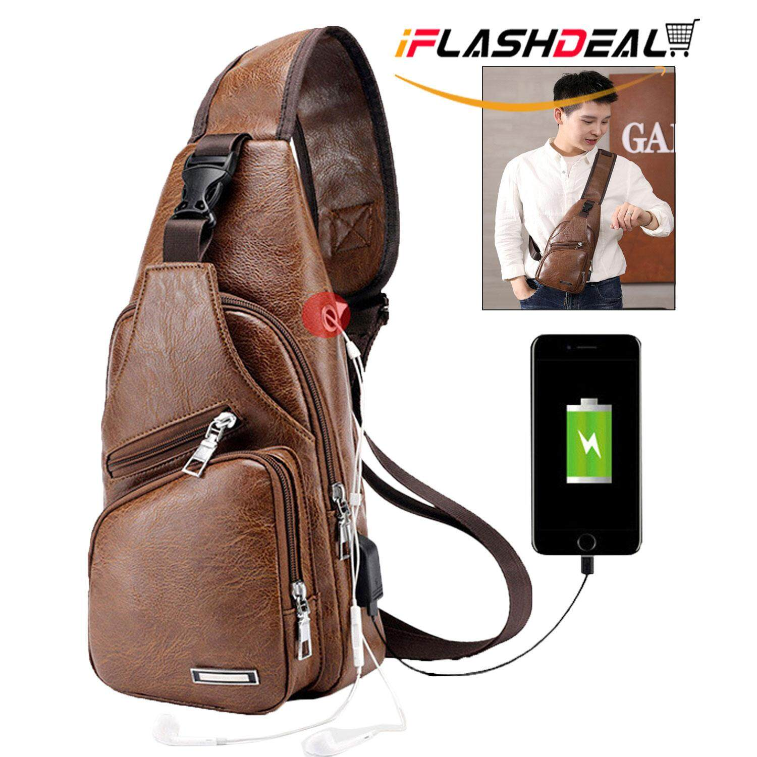 iFlashDeal Men Crossbody Sling Bags Chest Shoulder Bags PU Leather Messenger Travel Bags